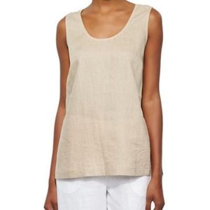 Go Silk linen tank top sleeveless boxy fit beige